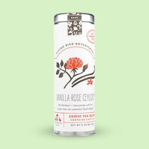 Flying Bird Botanicals Vanilla Rose Ceylon 6 Tea Bag Tin