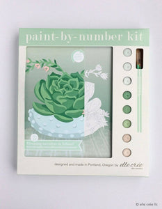 elle crée Paint-by-Number Kit - Blooming Succulent in Hobnail Bowl