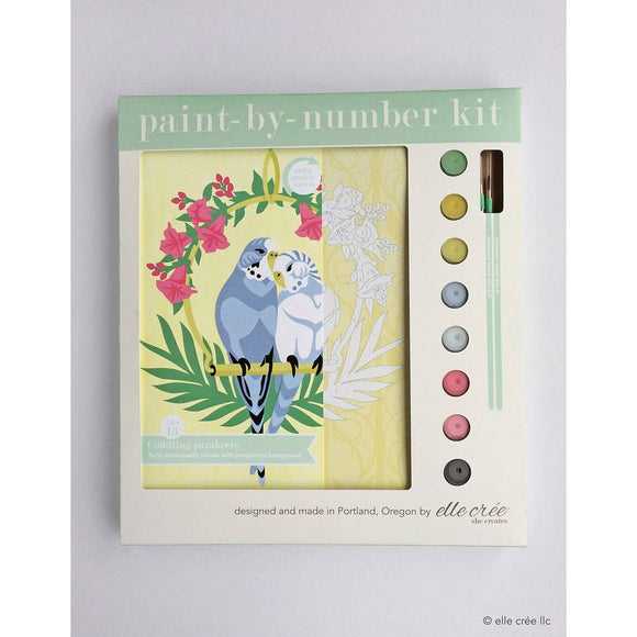 elle crée Paint By Number Kit - Cuddling Parakeets