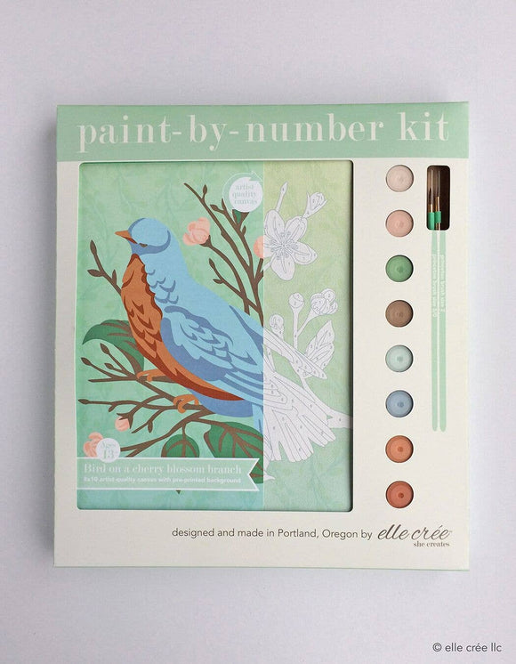 elle crée Paint-by-Number Kit - Bird on a Cherry Blossom Branch