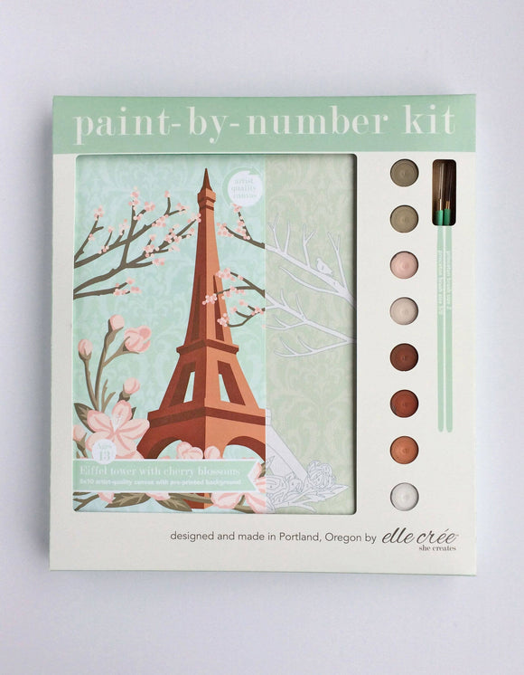 elle crée Paint-by-Number Kit - Eiffel Tower with Cherry Blossoms