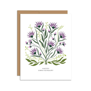 Hazelmade Card - Happy Anniversary, Purple Thistle
