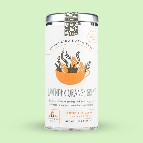 Flying Bird Botanicals Lavender Orange Grey 15 Tea Bag Tin