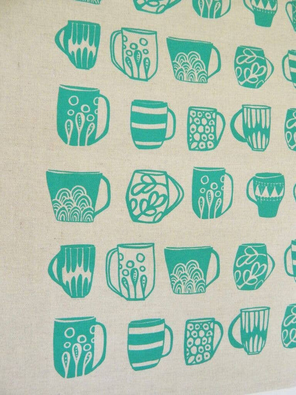 The High Fiber Kitchen Towel -Teacups in Turquoise