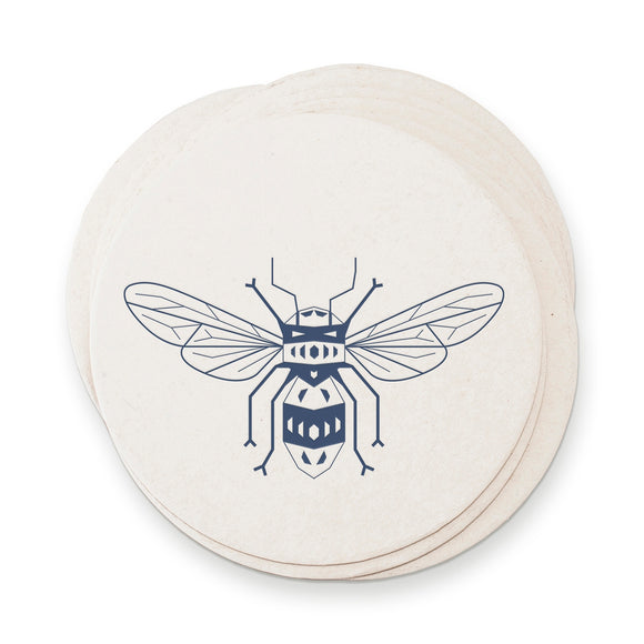 Ruff House Print Shop Paper Coasters - Honey Bee Letterpress