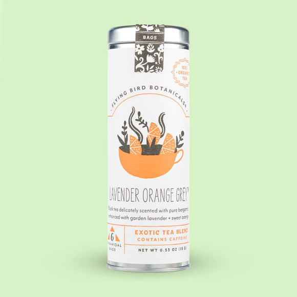Flying Bird Botanicals Lavender Orange Grey 6 Tea Bag Tin