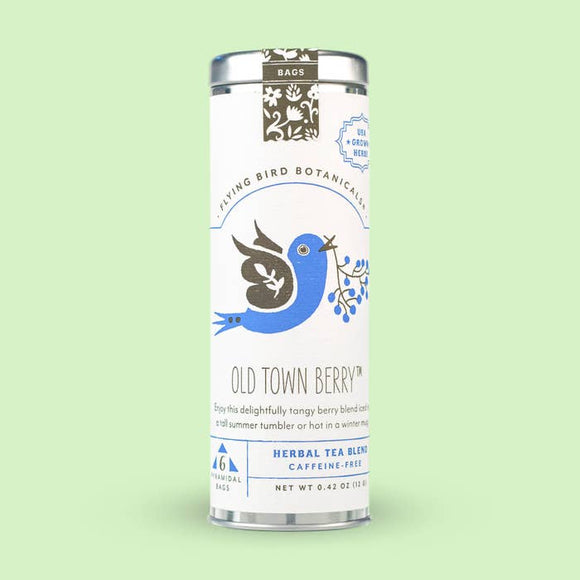 Flying Bird Botanicals Old Town Berry 6 Tea Bag Tin