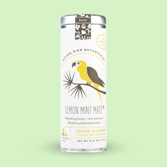 Flying Bird Botanicals Lemon Mint Maté 6 Tea Bag Tin