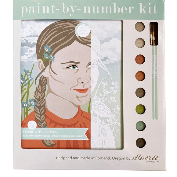 elle crée Paint-by-Number Kit - Greta with Sparrow