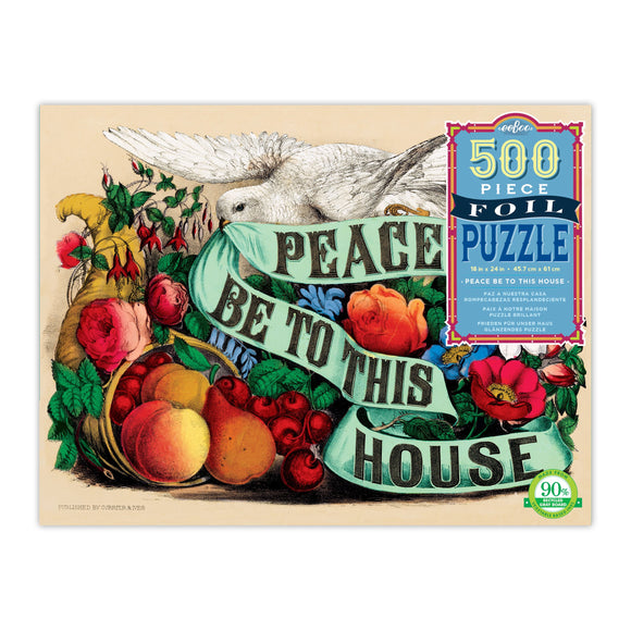 eeBoo Peace Be to This House 500 Piece Foil Puzzle