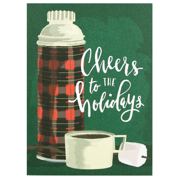Smudge Ink Holiday Card - Plaid Thermos