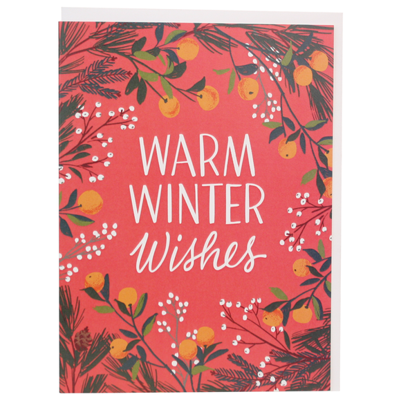 Smudge Ink Holiday Card - Clementines & Botanicals