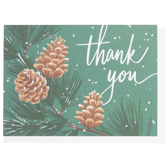 Smudge Ink Holiday/Thank You Boxed Cards - Pinecones