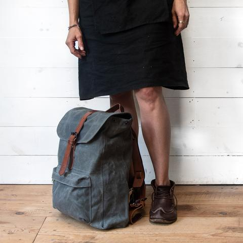 Peg and Awl - Waxed Canvas - Rogue Backpack in Slate