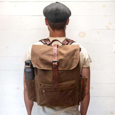 Peg and Awl - Waxed Canvas - Rogue Backpack In Spice with Side Pockets