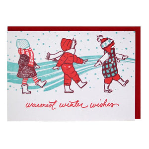 Smudge Ink Holiday Card - Bundled Up Kids