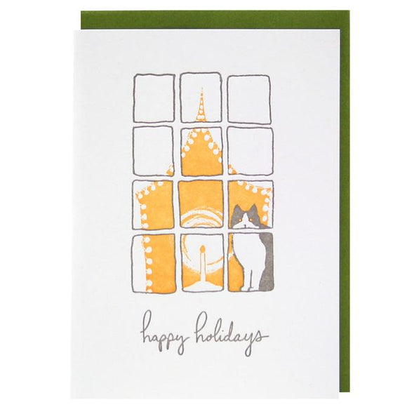 Smudge Ink Holiday Card - Cat and Candlelight