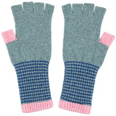 Catherine Tough Women's Sea Green & Blue Fingerless Lambswool Gloves