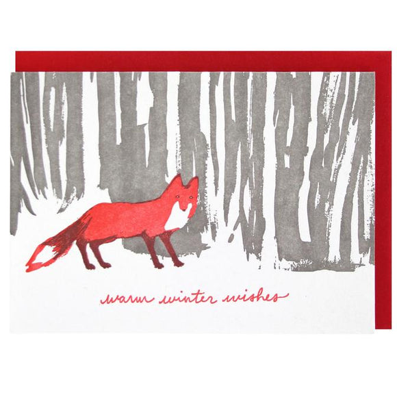 Smudge Ink Holiday Card - Fox in Woods