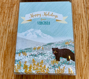 Modern Printed Matter Boxed Holiday Cards - Virginia Mountain Bear