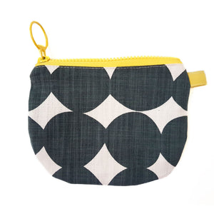 Skinny laMinx Change Purse - Pebble in Inkspot with Lemon Lining