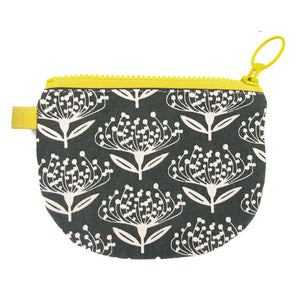 Skinny laMinx Change Purse - Pincushion in Charcoal with Lemon Lining