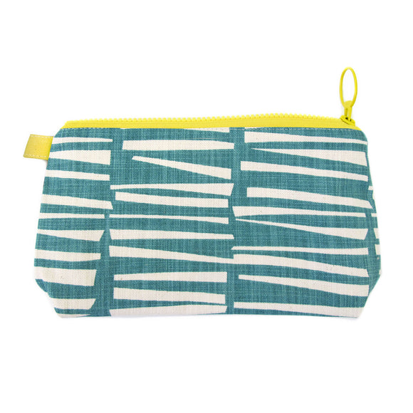 Skinny laMinx Stash Bag - Woodpile in Teal with Lemon Lining