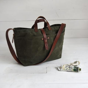 Peg and Awl - Waxed Canvas - Large Tote in Moss