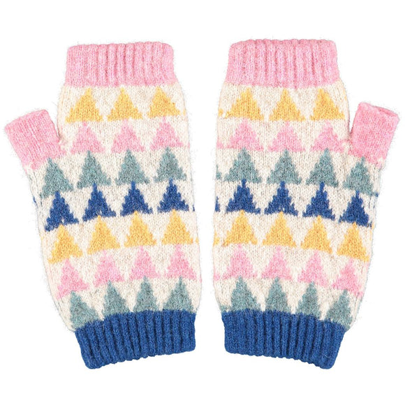 Catherine Tough Women's Lambswool Wrist Warmers - Triangles
