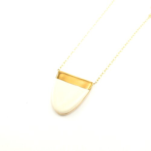 ZOË COMINGS Dome Necklace - white & gold