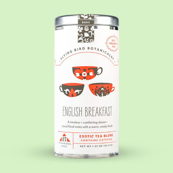 Flying Bird Botanicals English Breakfast 15 Tea Bag Tin