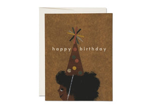 Red Cap Card - Afro Birthday
