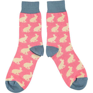 Catherine Tough Women's Ankle Socks - Bright Pink Rabbits