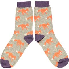 Catherine Tough Men's Lambswool Ankle Socks - Sage Running Fox
