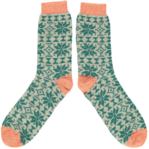 Catherine Tough Men's Lambswool Ankle Socks - Green Fair Isle