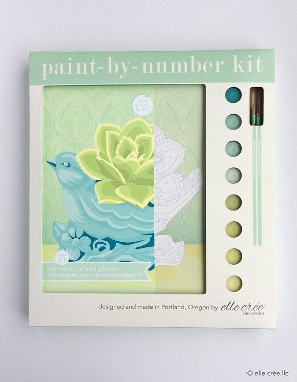 elle crée Paint-by-Number Kit - Succulent in Bird Planter