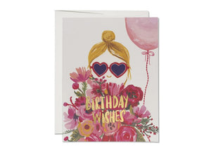 Red Cap Card - Heart Shaped Glasses Birthday
