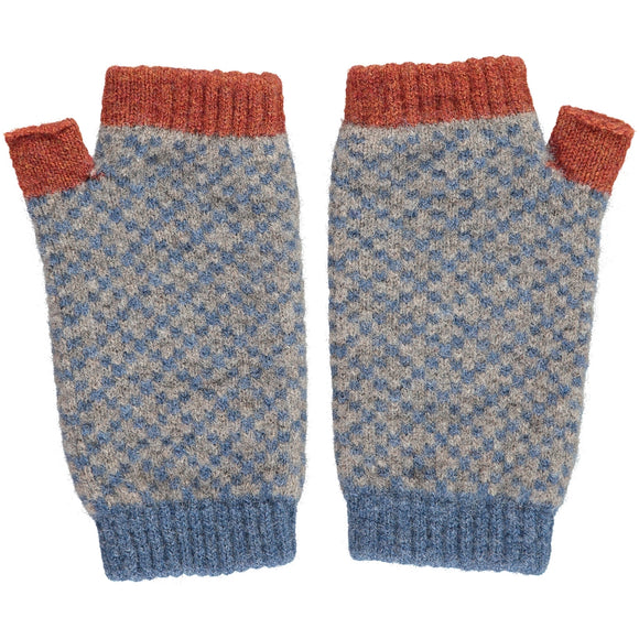 Catherine Tough Women's Lambswool Wrist Warmers - Cross in Denim