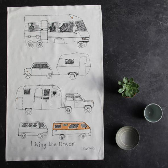 Poppy Treffry Tea Towel - Camper Vans