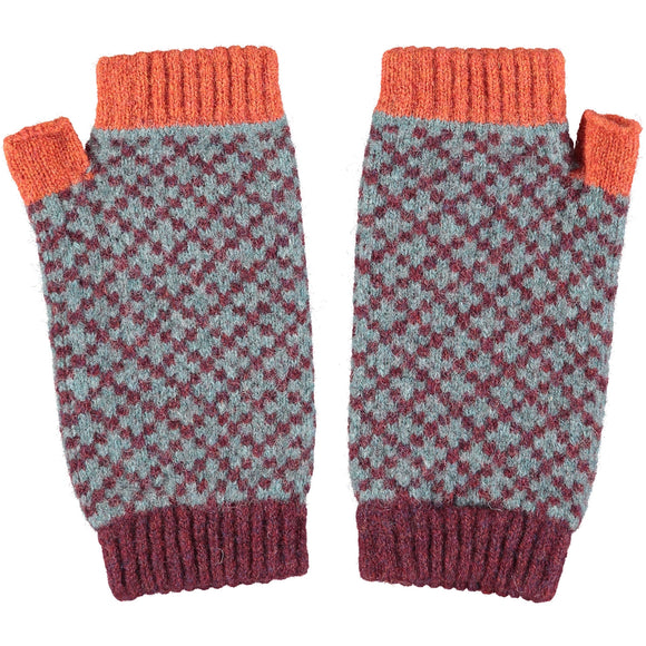 Catherine Tough Women's Lambswool Wrist Warmers - Cross in Aubergine