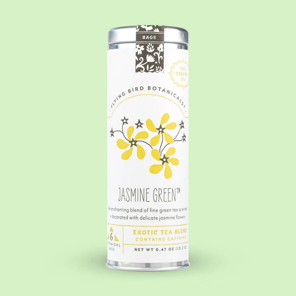 Flying Bird Botanicals Jasmine Green 6 Tea Bag Tin
