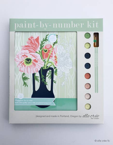 elle crée Paint-by-Number Kit - Poppies in Vase