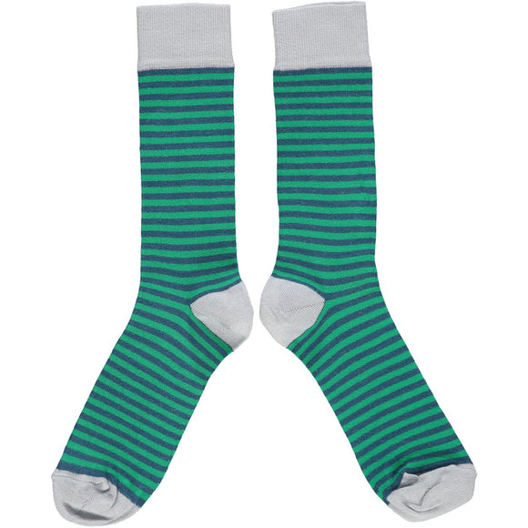 Catherine Tough Men's Ankle Socks - Navy & Green Stripe