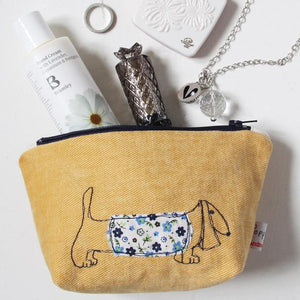 Poppy Treffry Small  Embroidered Pouch - Dachshund