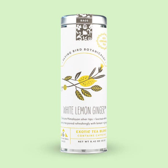 Flying Bird Botanicals White Lemon Ginger 6 Tea Bag Tin