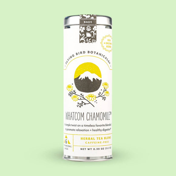 Flying Bird Botanicals Whatcom Chamomile 6 Tea Bags Tin