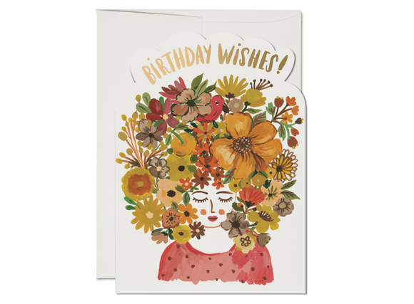 Red Cap Card - Floral Tresses Birthday