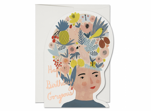 Red Cap Card - Fruit Hat Lady Birthday
