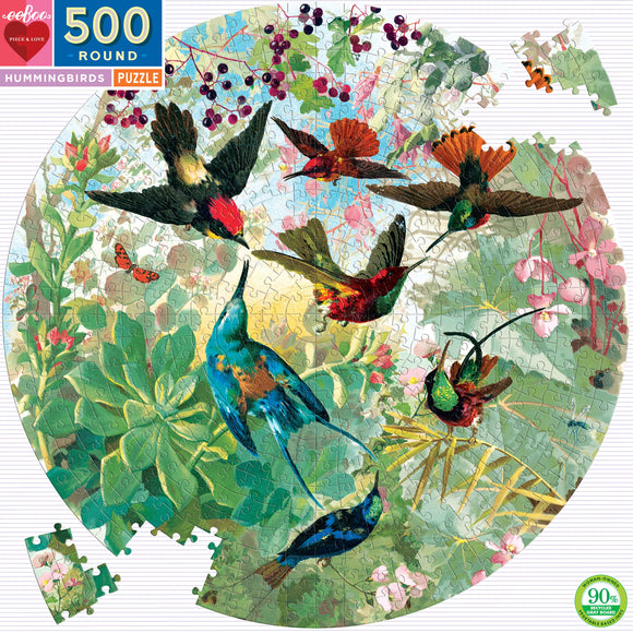 eeBoo Hummingbirds 500 Piece Round Puzzle