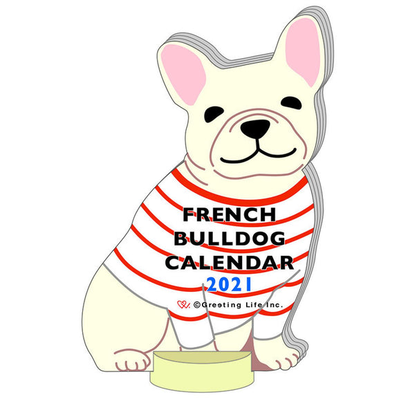 Greeting Life Die cut Calendar - French Bull Dog